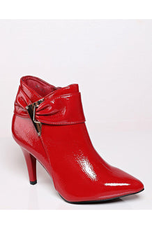 Red Patent Textured Ankle Boots-SinglePrice