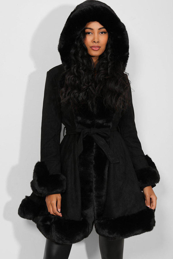 Black Faux Fur Trimmed Hooded Coat - SinglePrice