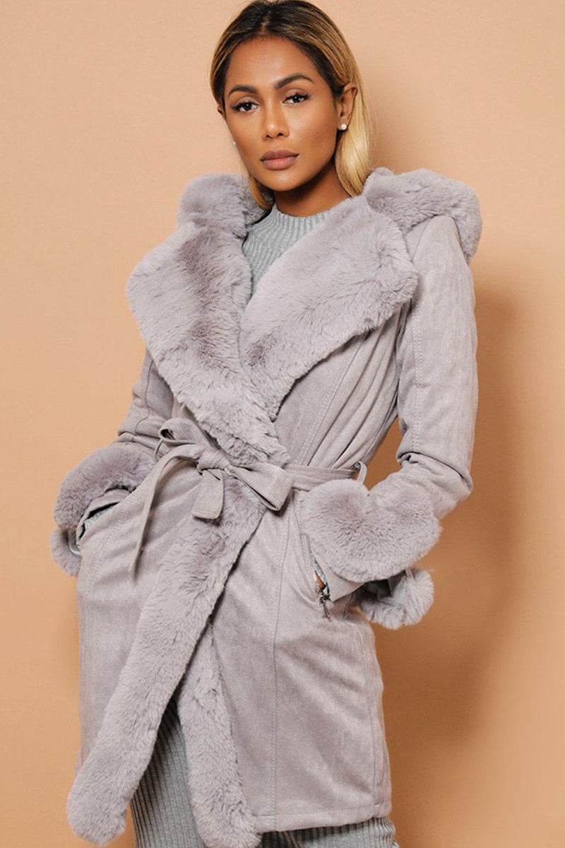 Super-Soft Faux Fur Trimmed Vegan Suede Grey Coat - SinglePrice