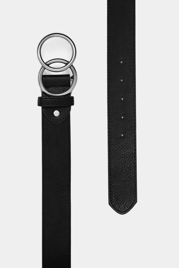 Aged Effect Silver Twin Ring Black Belt-SinglePrice
