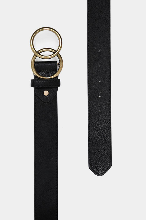Aged Effect Gold Twin Ring Black Belt-SinglePrice