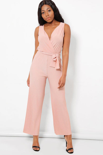 Pleated Details Pink Jumpsuit-SinglePrice
