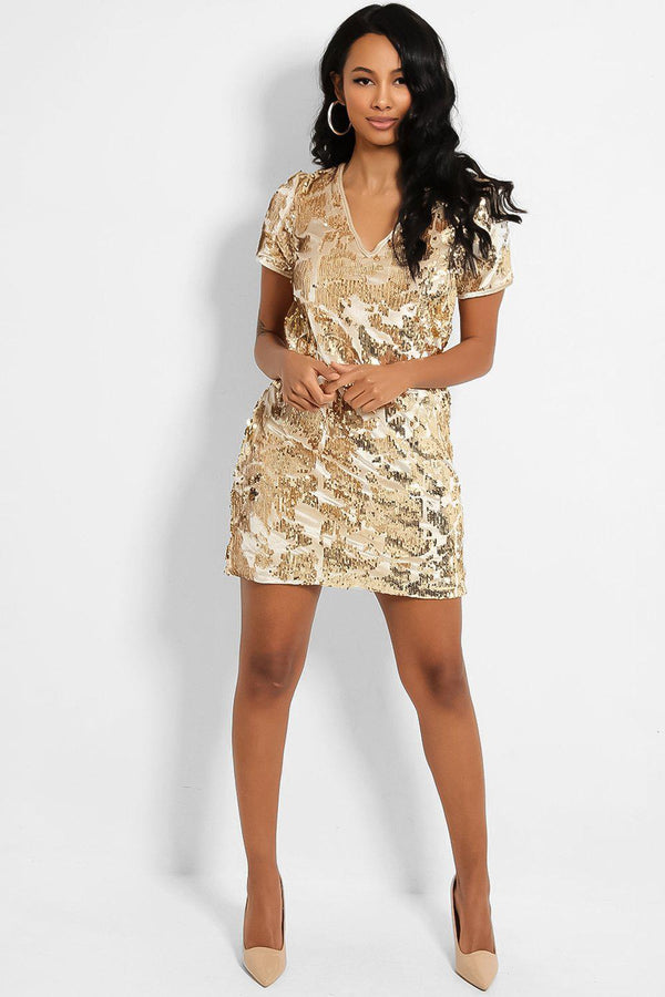 Gold Sequins V-Neck Mini Party Dress - SinglePrice