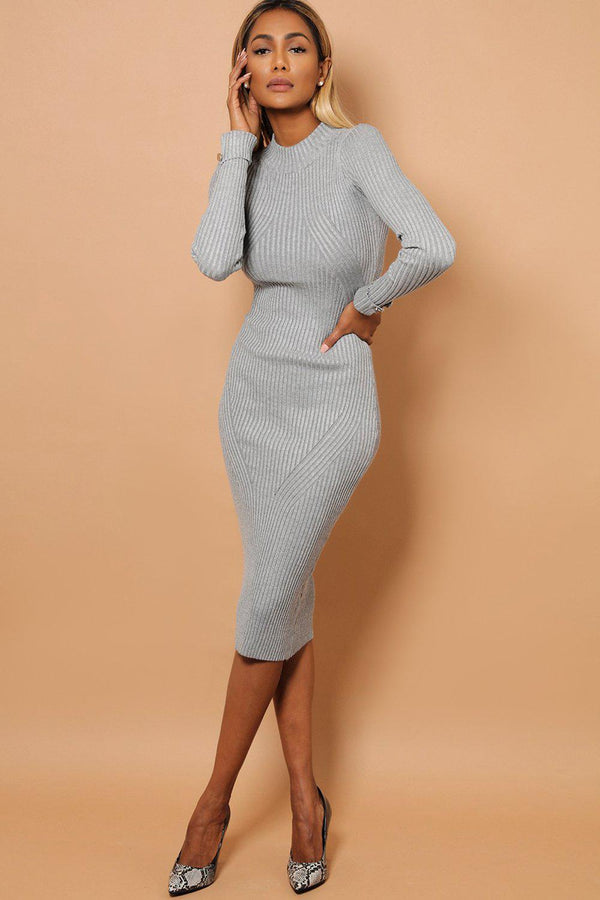 Grey Buttoned Rolled-Up Sleeve Rib Knit Midaxi Dress-SinglePrice