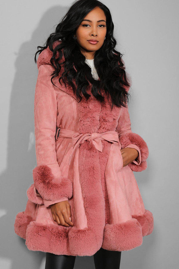 Pink Faux Fur Trimmed Hooded Coat-SinglePrice