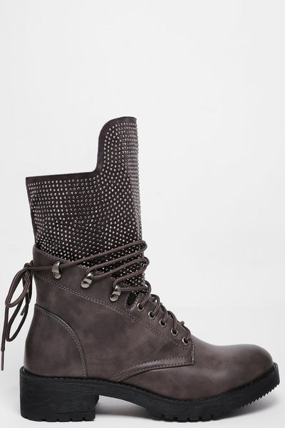 Studded Sock Grey Boots-SinglePrice