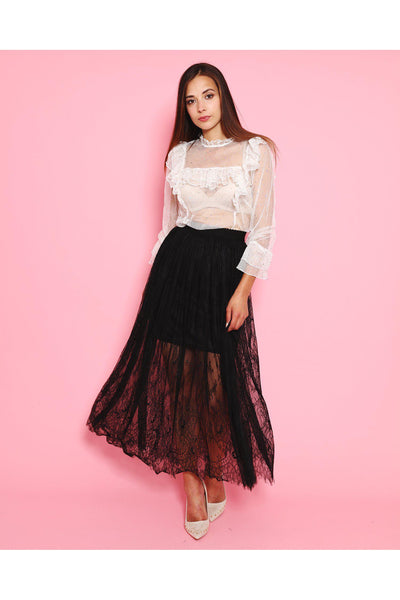 Black Lace Maxi Skirt-SinglePrice