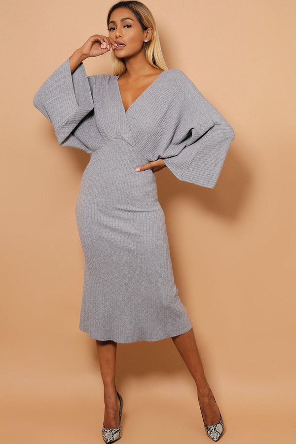 Grey Kimono Sleeves Wrap V-Neck Rib Knit Midaxi Dress-SinglePrice