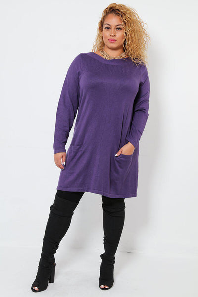 Dotted Knit Front Pockets Violet Dress-SinglePrice