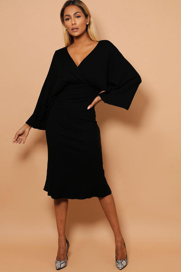 Black Kimono Sleeves Wrap V-Neck Rib Knit Midaxi Dress-SinglePrice