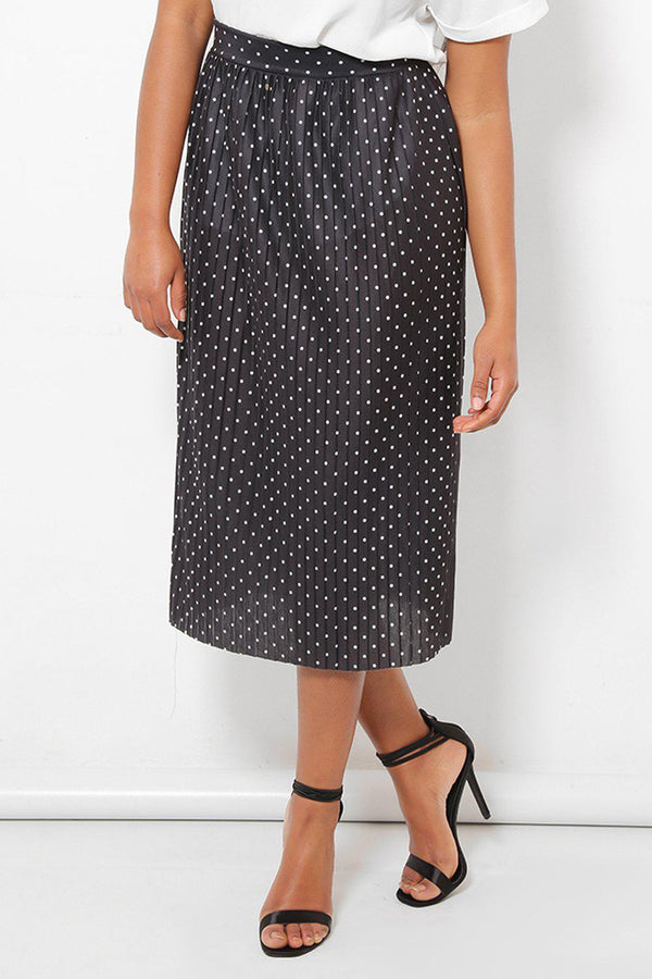Pleated Black Polka Dot Skirt - SinglePrice