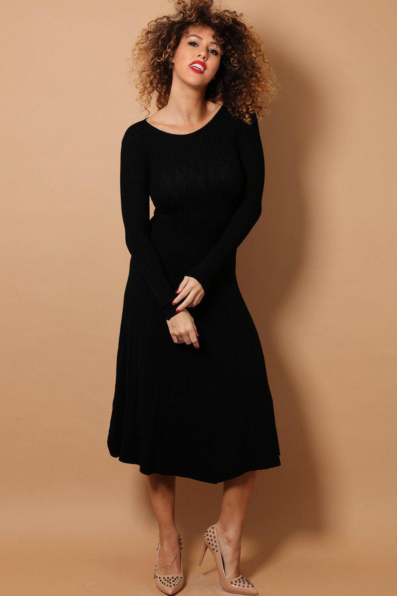 Black Flare Rib Knit Midaxi Dress - SinglePrice