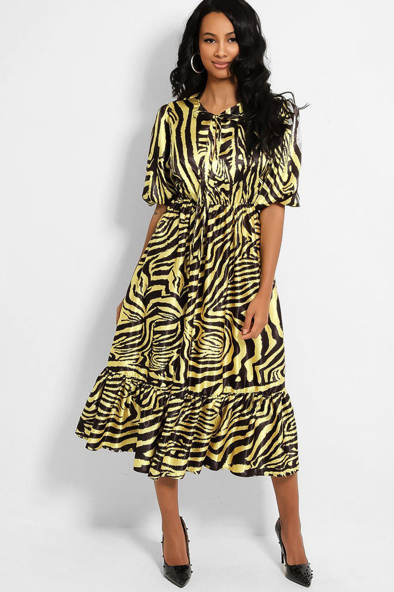 Yellow Black Zebra Print Neck Tie Satin Midi Dress - SinglePrice