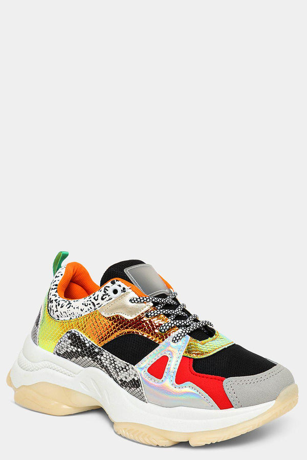 Orange Mixed Animal Print Panels Chunky Trainers - SinglePrice