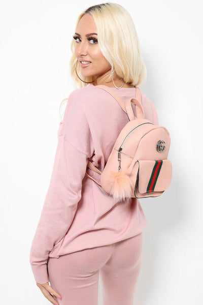 Fur Charm Tape Stripe Small Pink Backpack-SinglePrice