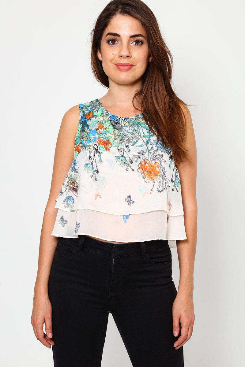 Floral Print Cropped Layered Top-SinglePrice
