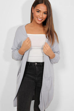 Slate Grey Balloon Sleeves Open Front Flat Knit Cardigan - SinglePrice