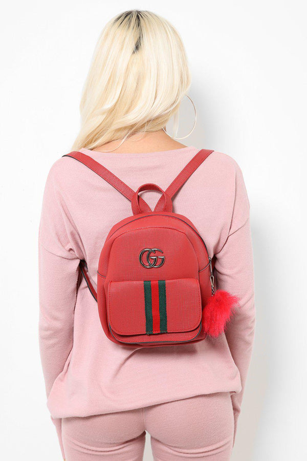 Fur Charm Tape Stripe Small Red Backpack-SinglePrice
