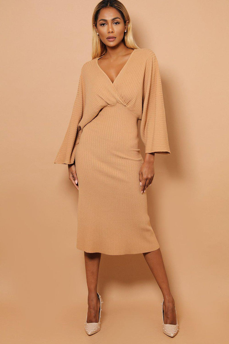 Camel Kimono Sleeves Wrap V-Neck Rib Knit Midaxi Dress - SinglePrice