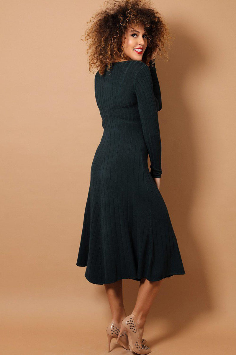 Green Flare Rib Knit Midaxi Dress - SinglePrice