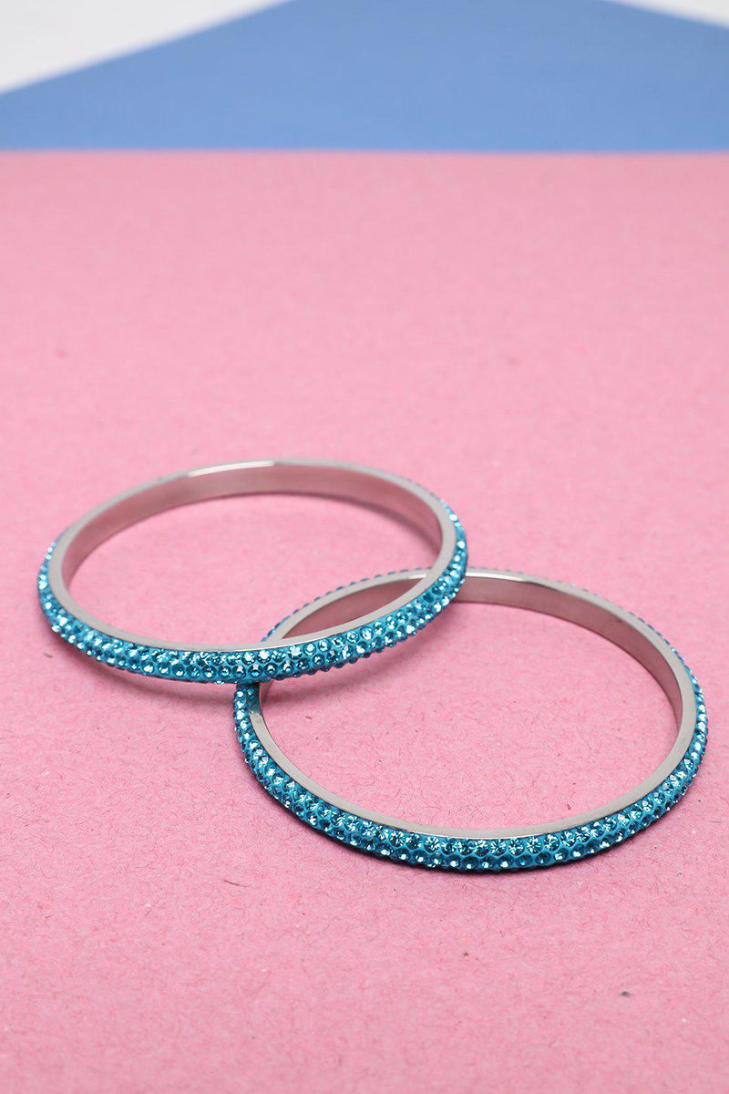 Pack Of 2 Blue Gem Fire Super Skinny Bangles - SinglePrice