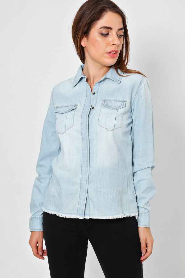 Raw Hem Bleached Denim Shirt-SinglePrice
