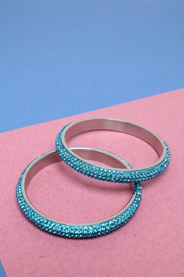 Pack Of 2 Blue Gem Fire Skinny Bangles-SinglePrice