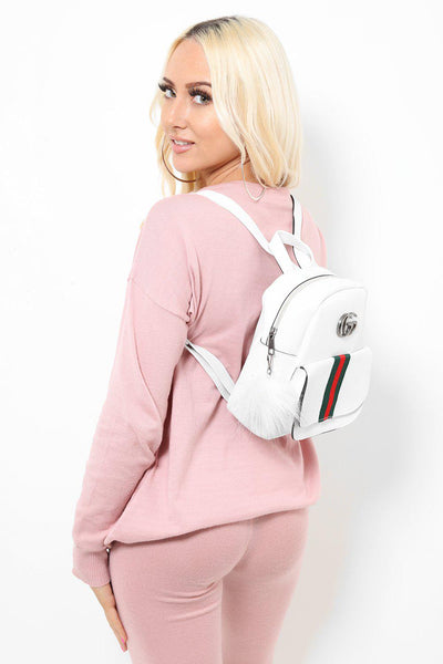 Fur Charm Tape Stripe Small White Backpack-SinglePrice