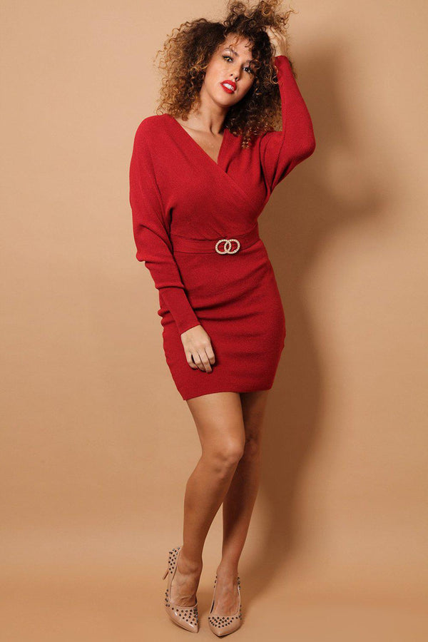 Red Wrap Neck Twin Ring Belt Detail Soft Rib Knit Dress-SinglePrice