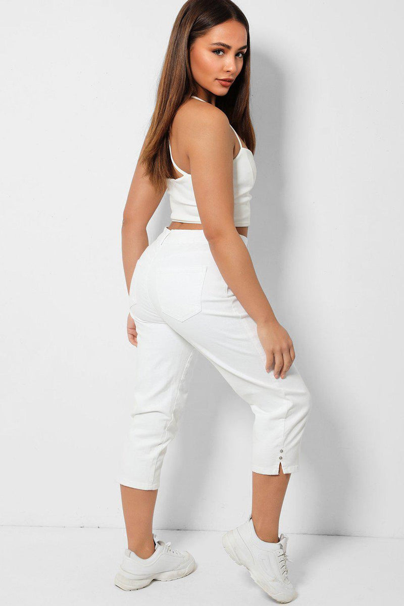 White Studded Split Cuffs Cropped Jeans - SinglePrice