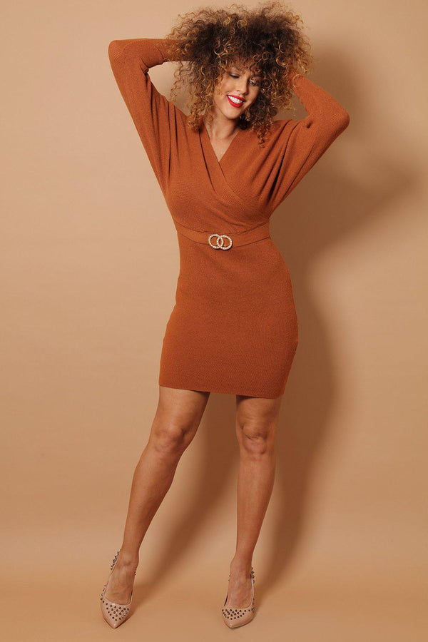 Brown Wrap Neck Twin Ring Belt Detail Soft Rib Knit Dress-SinglePrice
