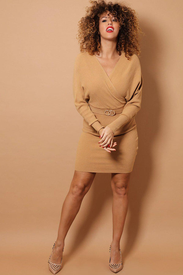 Camel Wrap Neck Twin Ring Belt Detail Soft Rib Knit Dress-SinglePrice
