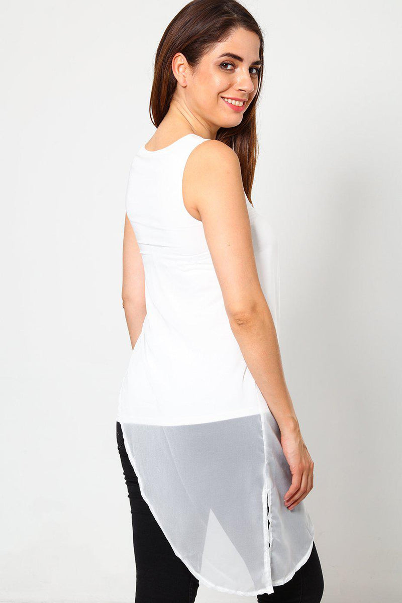 Asymmetric Chiffon Layer White Slogan T-Shirt-SinglePrice
