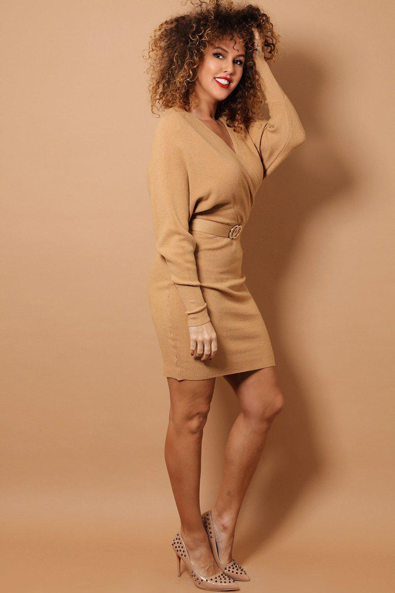 Camel Wrap Neck Twin Ring Belt Detail Soft Rib Knit Dress - SinglePrice