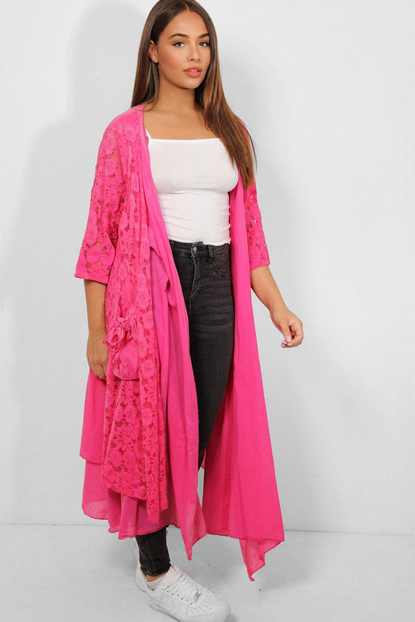 Hot Pink Layered Lace Open Front Maxi Cardigan - SinglePrice