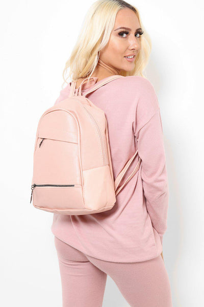 Double Asymmetric Zips Pink Backpack-SinglePrice