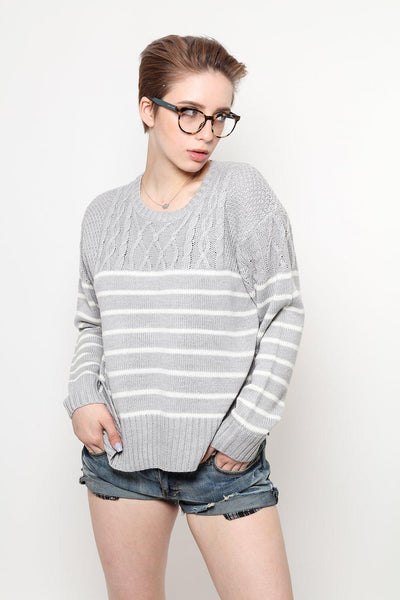 Braided Knit Stripy Grey Jumper-SinglePrice