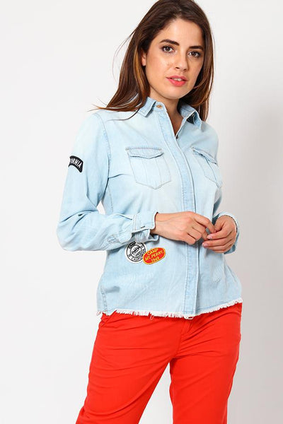 Badge Embellished Light Denim Shirt-SinglePrice