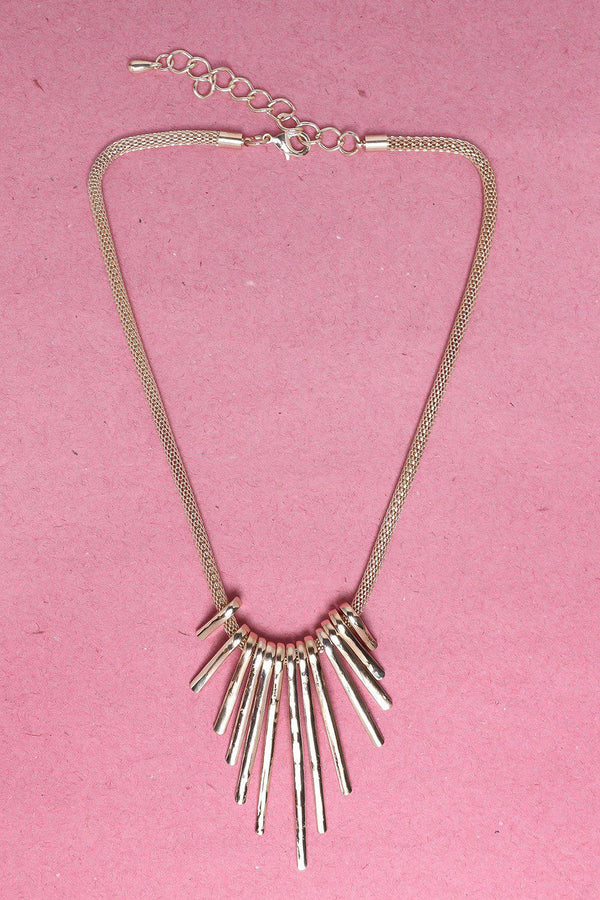 Gradual Spikes Gold Necklace-SinglePrice