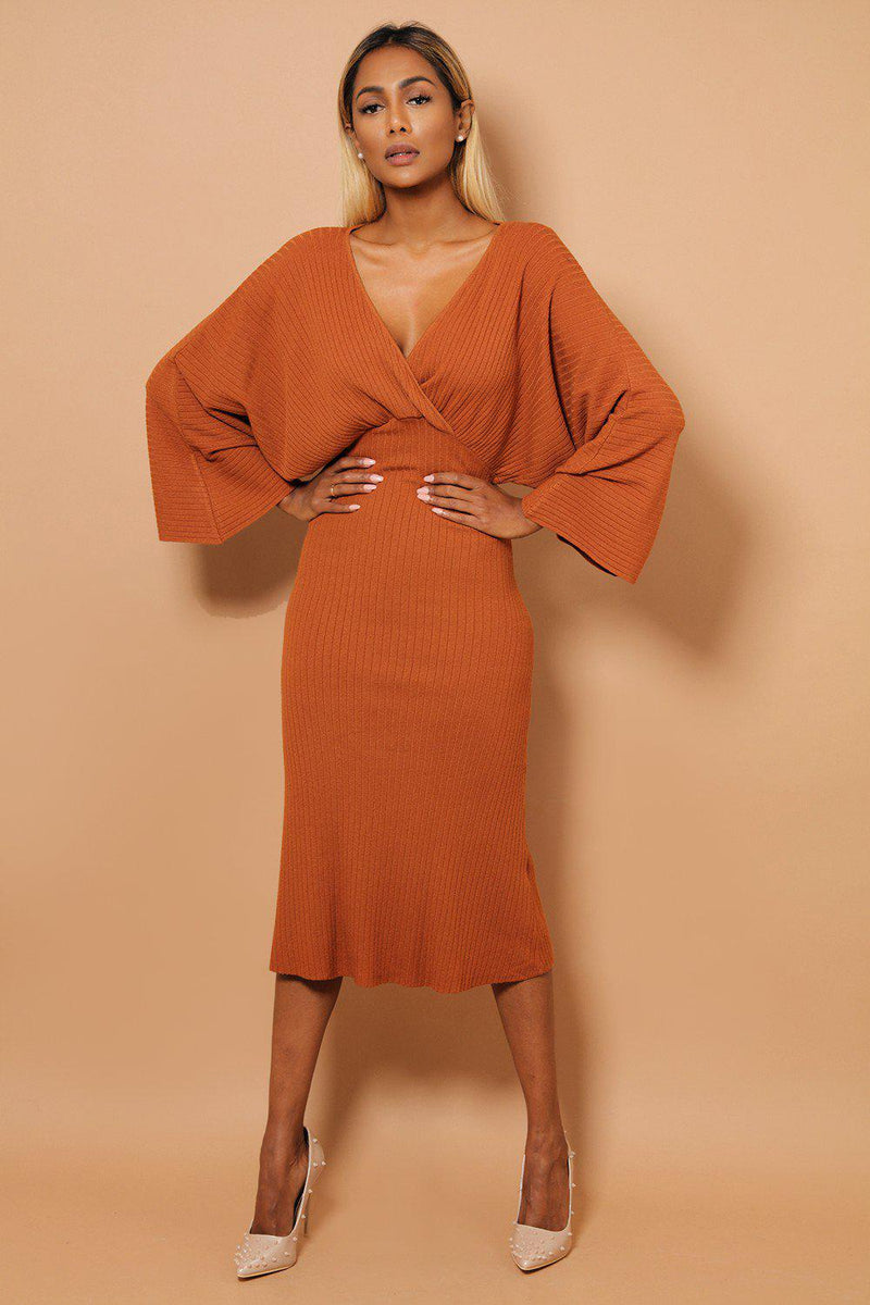 Rust Kimono Sleeves Wrap V-Neck Rib Knit Midaxi Dress - SinglePrice