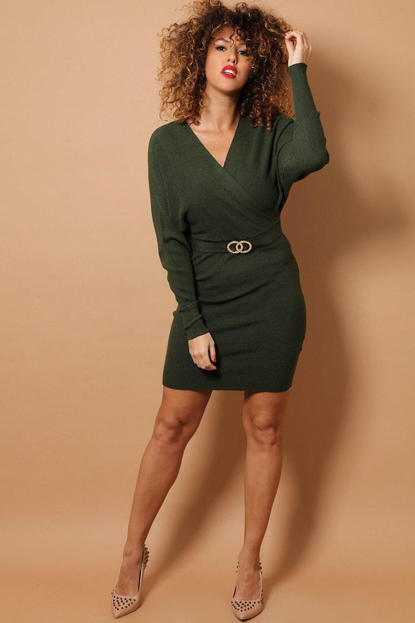 Khaki Wrap Neck Twin Ring Belt Detail Soft Rib Knit Dress-SinglePrice