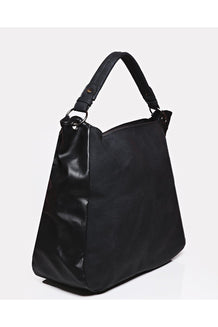 Black Aged Matte Vegan Leather Shoulder Bag
