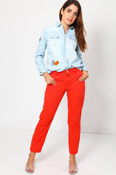 Bright Red Chino Trousers-SinglePrice