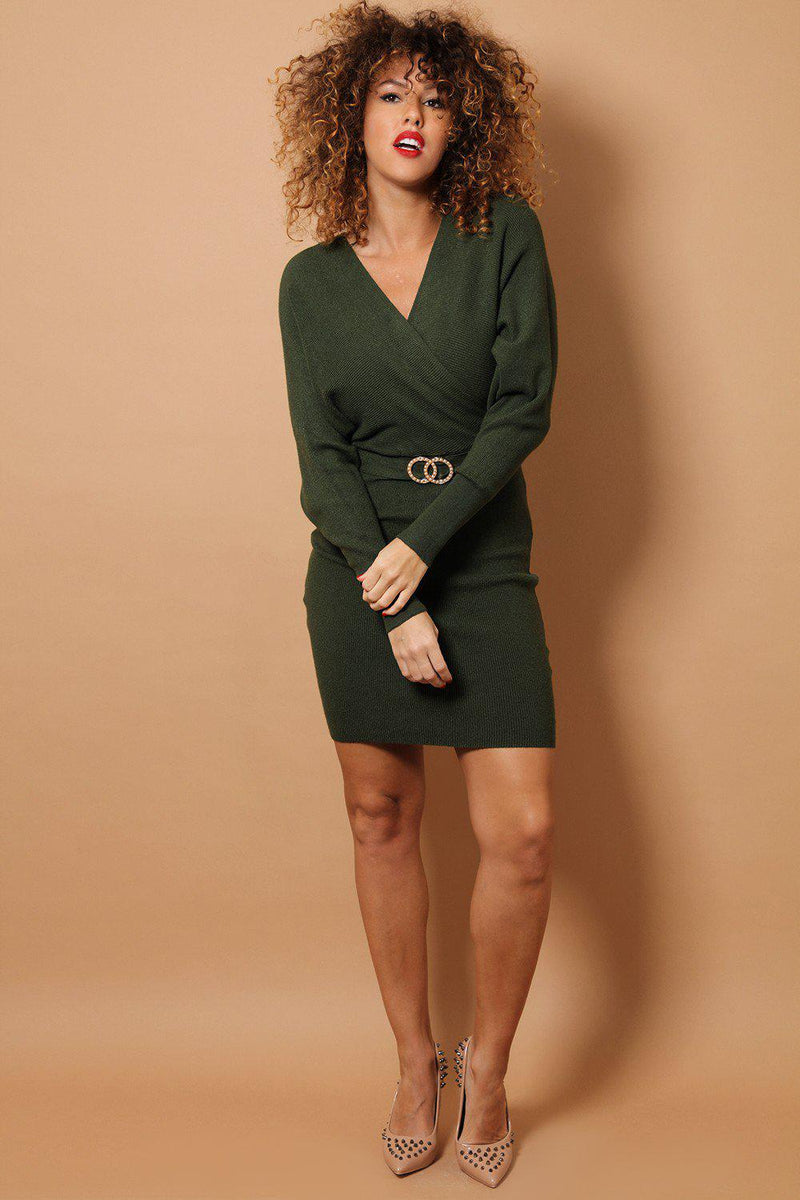 Khaki Wrap Neck Twin Ring Belt Detail Soft Rib Knit Dress - SinglePrice