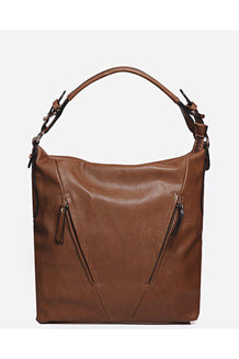 Camel Diagonal Zips Front Shoulder Bag