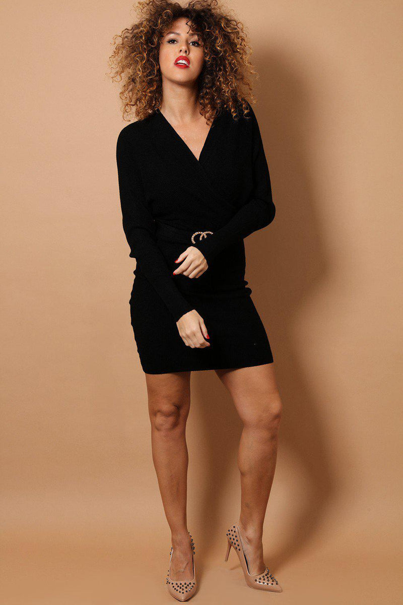 Black Wrap Neck Twin Ring Belt Detail Soft Rib Knit Dress-SinglePrice