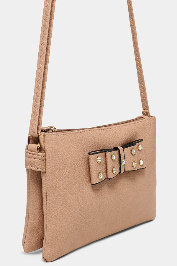 Apricot Vegan Leather Crystals Embellished Bow Crossbody Bag - SinglePrice