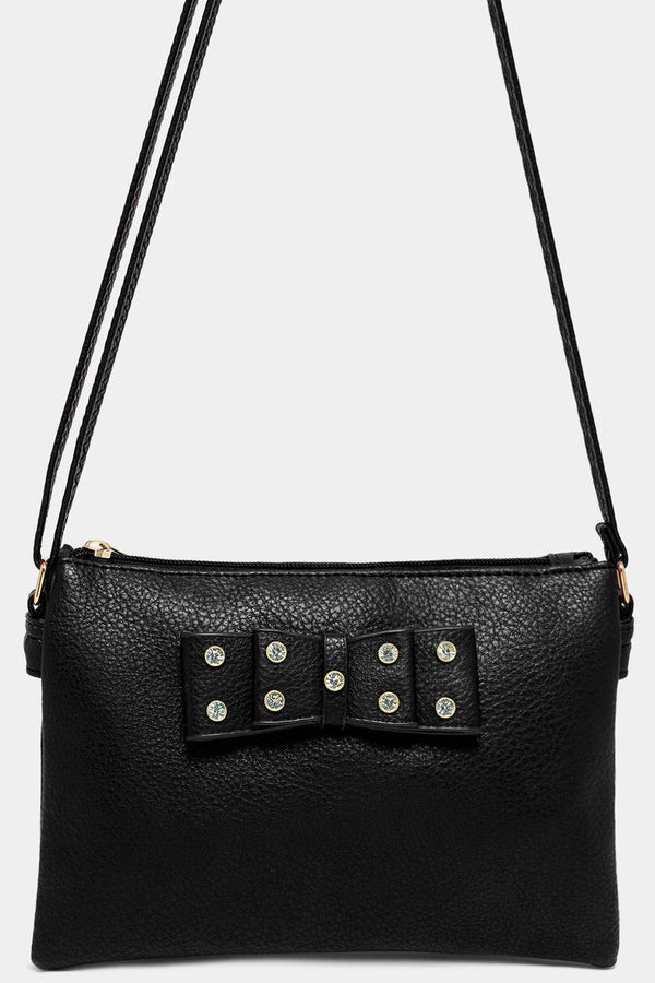 Black Vegan Leather Crystals Embellished Bow Crossbody Bag - SinglePrice