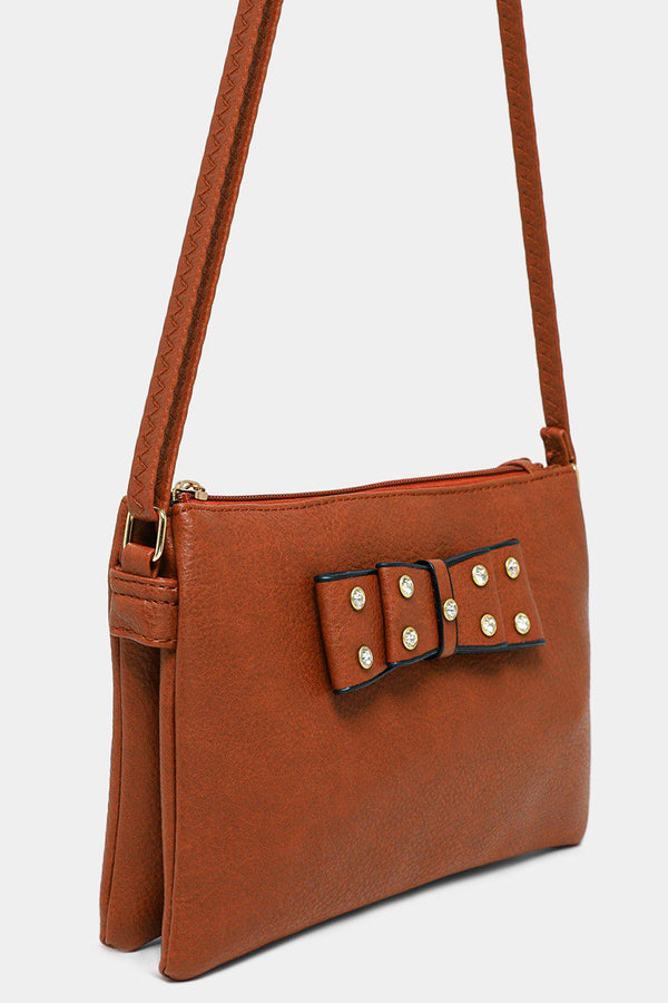 Brown Vegan Leather Crystals Embellished Bow Crossbody Bag-SinglePrice