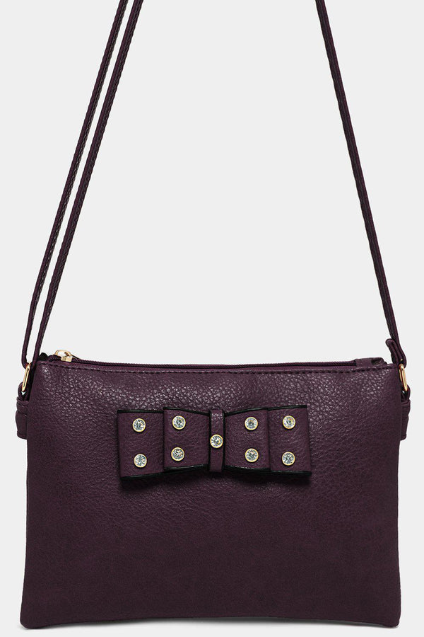 Purple Vegan Leather Crystals Embellished Bow Crossbody Bag-SinglePrice